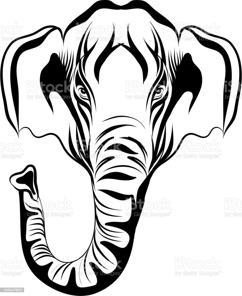 Vector Hand Drawn Elephant Mammoth On A White Background Stock ...