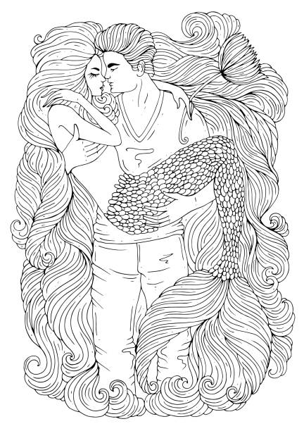 Vector hand drawn embraces a loving couple. A young guy is holding hands a sea mermaid with long hair and a scaly tail. Pattern coloring page A4 size vector art illustration