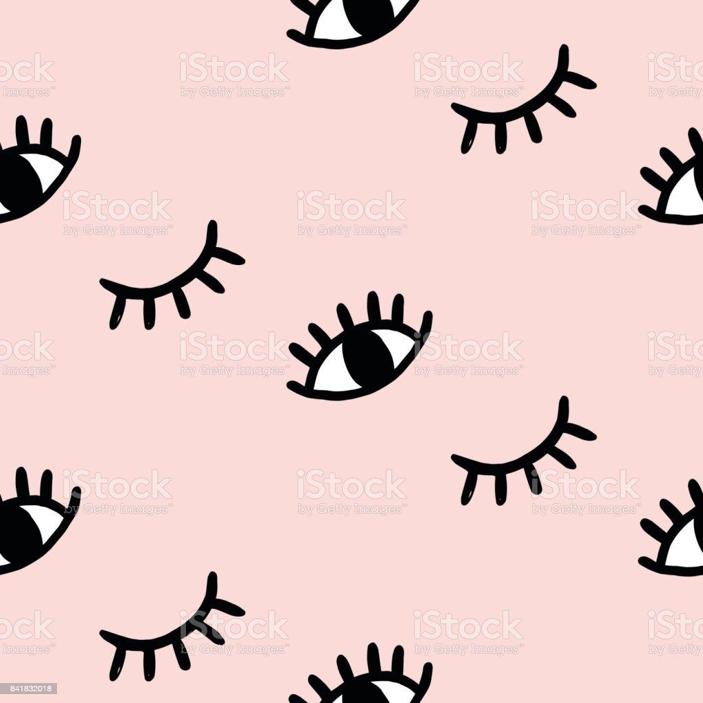 Vector hand drawn eye doodles seamless pattern vector art illustration