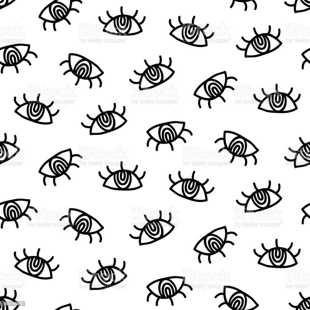 ベクトル手描き目簡単な落書きのシームレスなパターン いたずら書きの