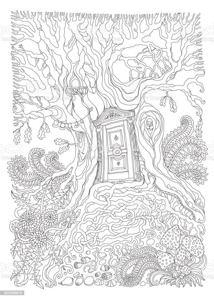 Main de vecteur dessiné vieux chêne fantastique avec la porte d'entrée en bois. Croquis noir et blanc. Tee shirt imprimé. Adultes et enfants page livre à colorier. Couverture de l'Album contour, peinture batik - Illustration vectorielle
