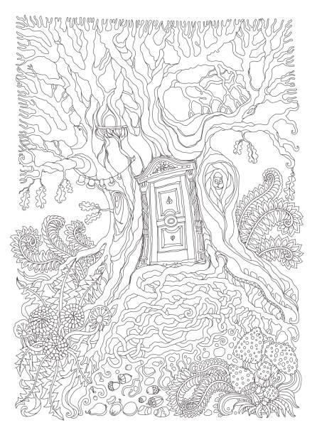 vektor handgezeichneten fantasy alte eiche mit hölzernen eingangstür. schwarz / weiß-skizze. t-shirt druck. erwachsene und kinder malbuch seite. batik farbe kontur, album-cover - gesims stock-grafiken, -clipart, -cartoons und -symbole