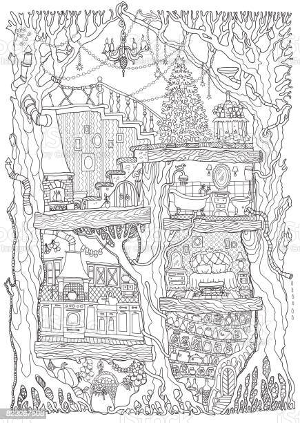 vector hand drawn fantasy old oak tree with fairy tale house black vector id