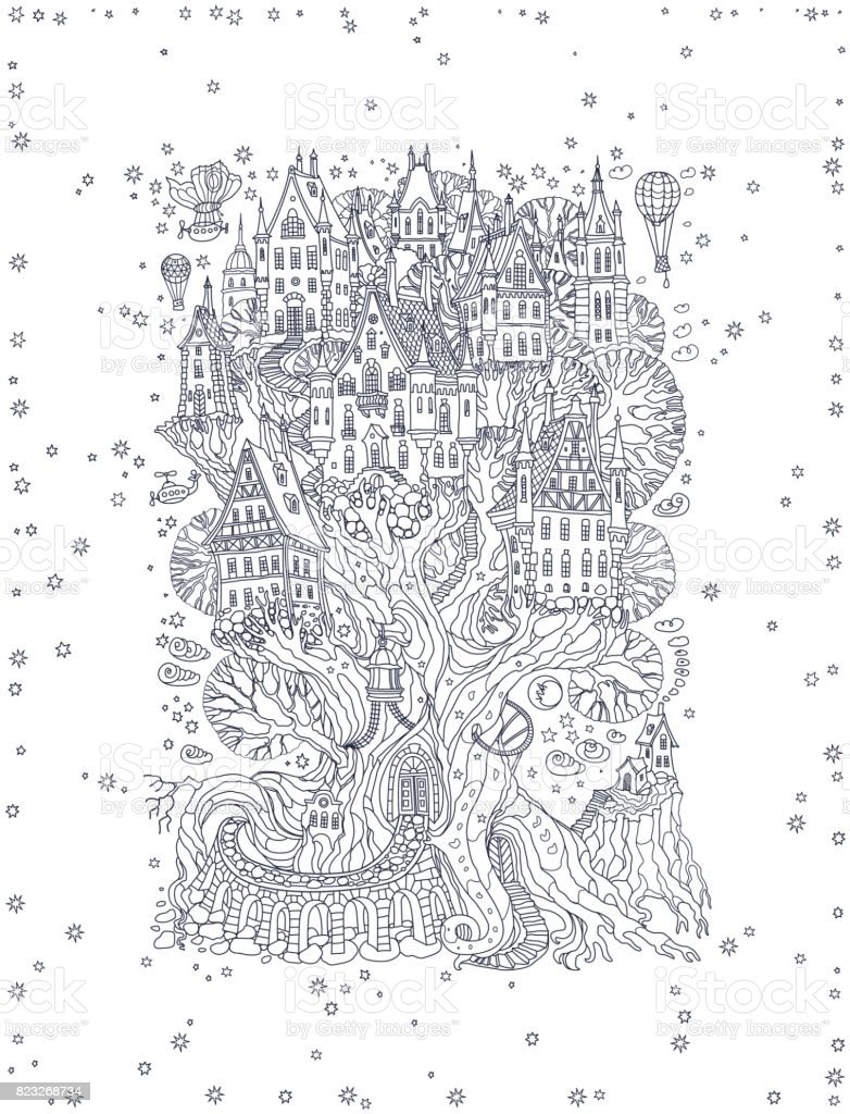 Vector hand drawn fantasy old oak tree with fairy tale house. Light gray doodle sketch. Black and white monochrome tee-shirt print, snowflakes frame on a white background. New Year and Christmas greeting card, party invitation vector art illustration