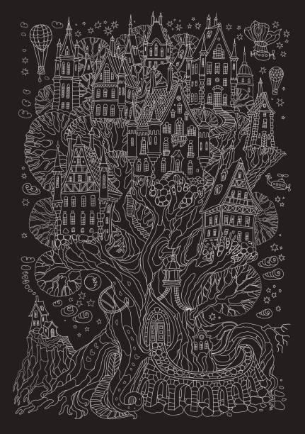 vektor handgezeichneten fantasy alte eiche mit märchen-haus. licht grau doodle skizze. black and white t-shirt drucken hintergrund. weihnachten und neujahr grußkarte, einladung - türposter stock-grafiken, -clipart, -cartoons und -symbole