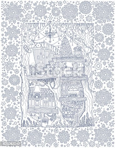Vector hand drawn fantasy old oak tree with fairy tale house. Linear sketch . Tee-shirt print. Snowflakes frame on a blue background. New Year and Christmas greeting card, party invitation