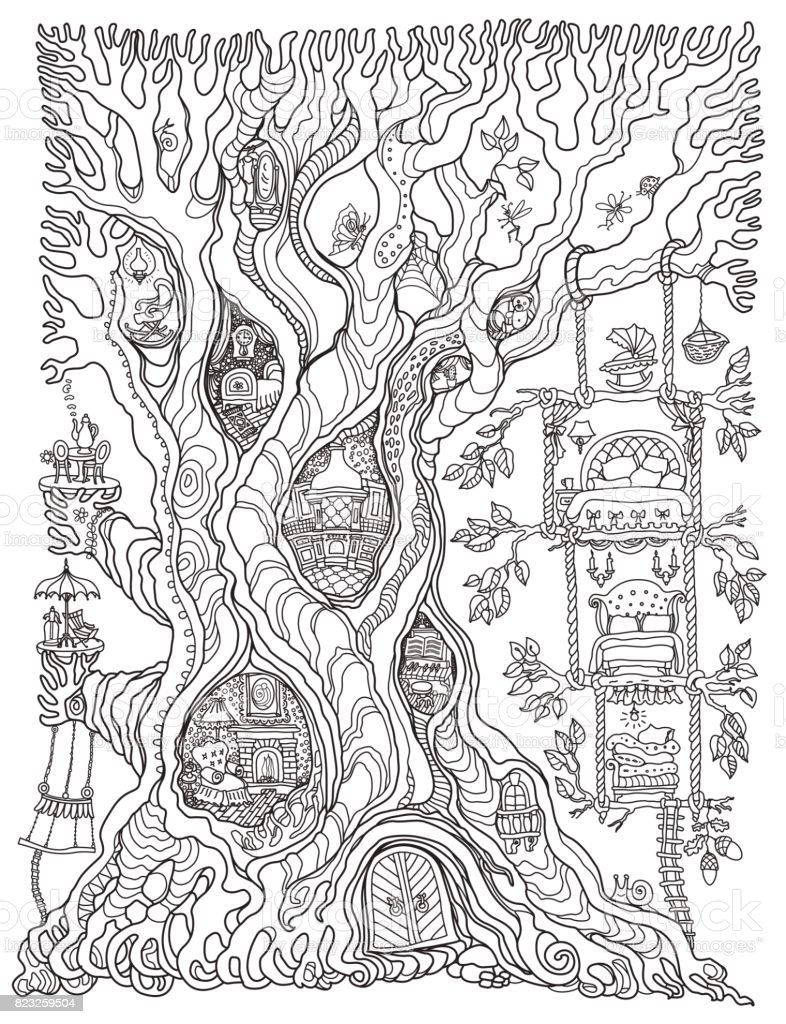 vector hand drawn fantasy old oak tree with fairy tale house with