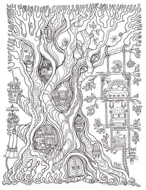 vektor handgezeichneten fantasy alte eiche mit märchen-haus mit spielzeug möbel. schwarz / weiß-skizze. t-shirt druck. erwachsene und kinder malbuch vertikale seite. batik-kontur-zeichnung - türposter stock-grafiken, -clipart, -cartoons und -symbole