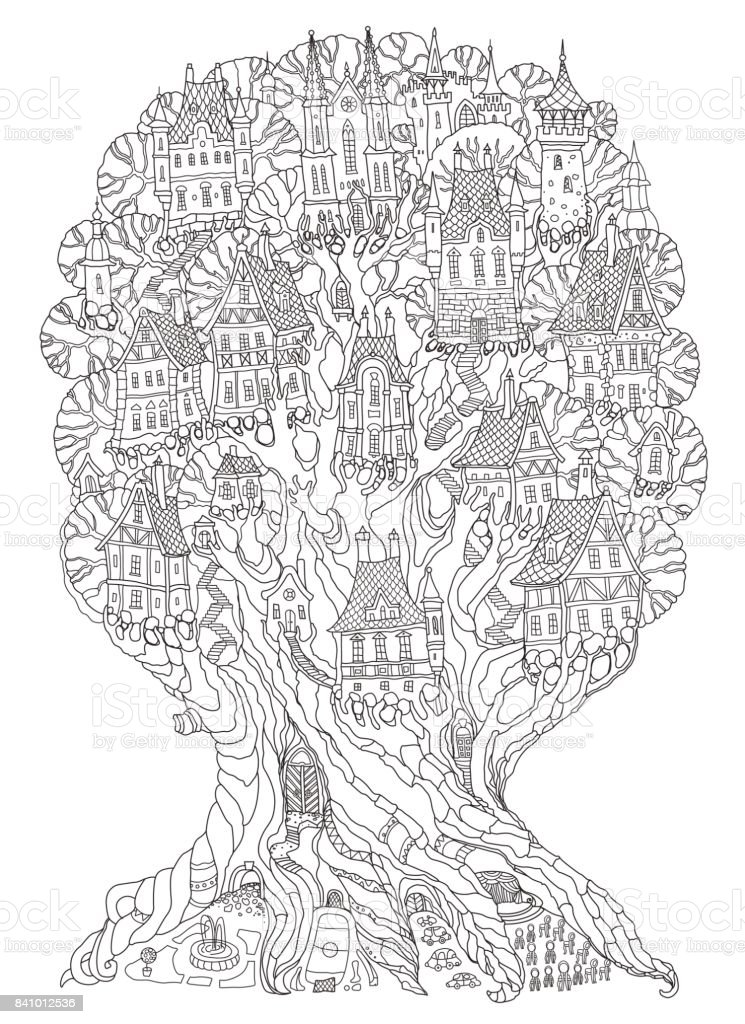 Vector hand drawn fantasy old oak tree with fairy tale houses, castles and palaces. Brown contour drawing on a beige background. Tee-shirt print. Adults and children Coloring book vertical page. Batik template vector art illustration