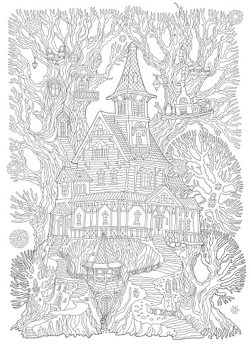 Vector hand drawn fantasy old tree stump with fairy tale house and barbeque gazebo. Coloring book black and white page. Linear contour sketch, Tee-shirt print, greeting card, party invitation