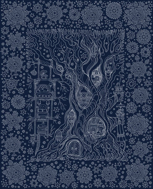 Vector hand drawn fantasy old tree with fairy tale house in a frame of snowflakes. Linear white sketch on a dark indigo blue background . Tee-shirt print. New Year holiday and Christmas greeting card Vector hand drawn fantasy old tree with fairy tale house in a frame of snowflakes. Linear white sketch on a dark indigo blue background . Tee-shirt print. New Year holiday and Christmas greeting card bedroom borders stock illustrations