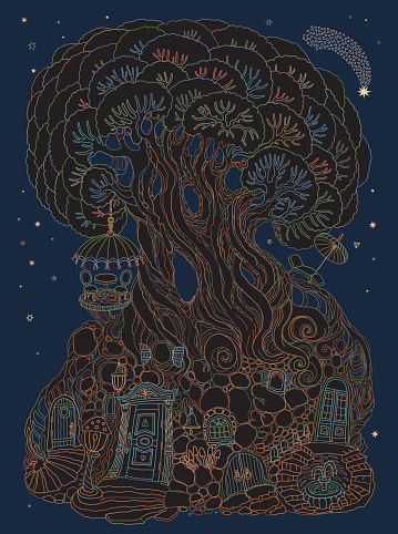 Vector hand drawn fantasy old tree with fairy tale house. Linear colorful contour sketch. Tee-shirt print on a dark blue background. Post greeting card, summer party invitation