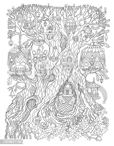 Vector hand drawn fantasy old tree with fairy tale house. Linear contour sketch black and white background. Adults and children Coloring book page, quarantine isolation period concept