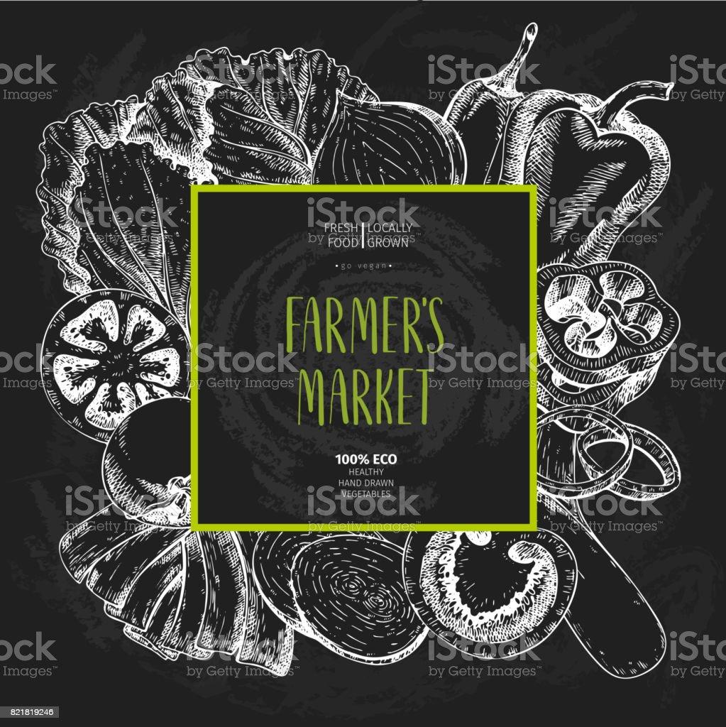 Vector hand drawn farm vegetables. Square border composition. Tomato, onion, cabbage, pepper, leek. Chalkboard style. Organic vegetarian sketches. vector art illustration