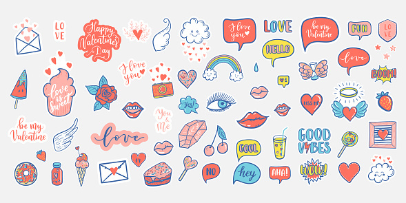 Vector hand drawn fashion elements for wedding, Valentine's Day, love prints background. Labels, speech bubble, heart, arraw, wings, flowers set