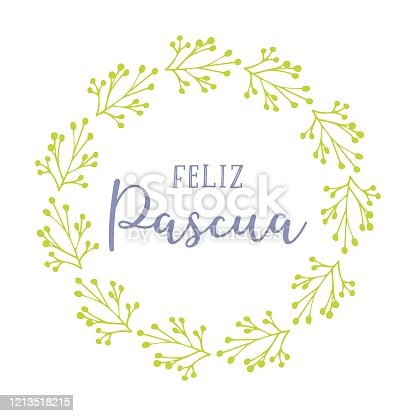 """istock Vector hand drawn """" Feliz Pascua"""" quote in Spanish with green wreath, translated Happy Easter. Modern Calligraphy, lettering for ad, poster, print, gift decoration. 1213518215"""