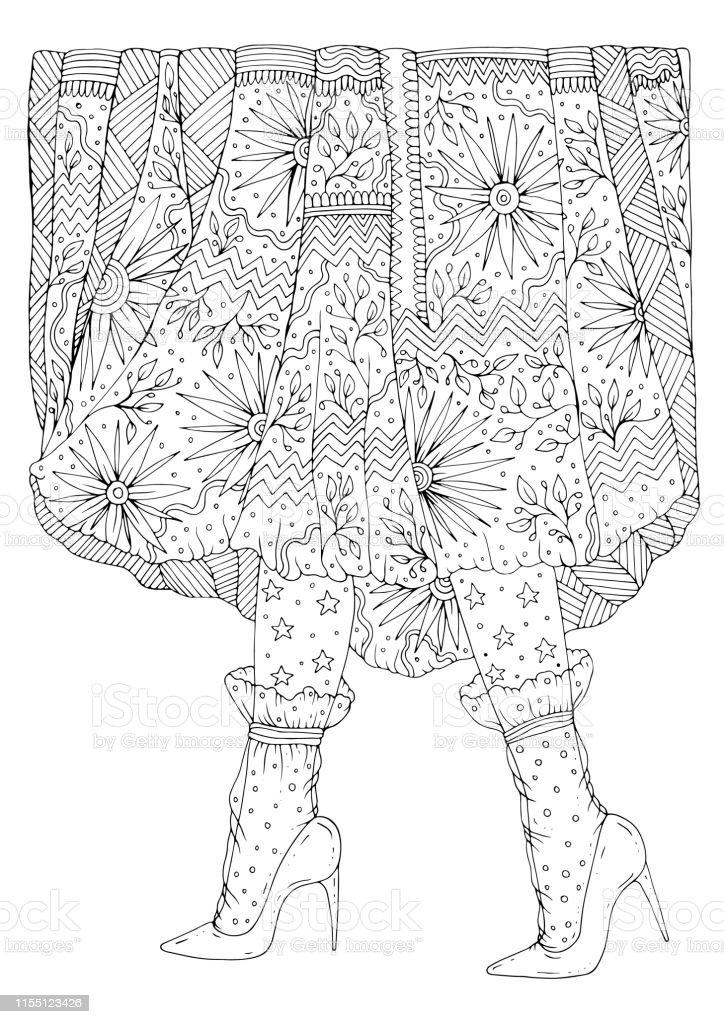 Yuksek Topuklu Ve Seffaf Corap Ve Uzun Desenli Etek Ile Ayakkabi