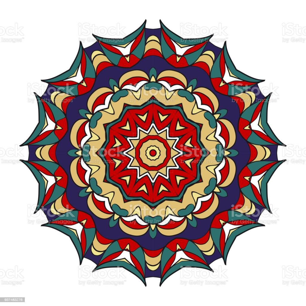 vector hand drawn floral color mandala design for fashion surface