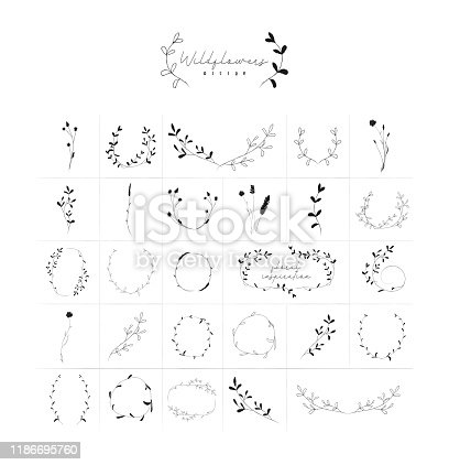 istock Vector Hand Drawn Floral Frames Wreaths Branches 1186695760