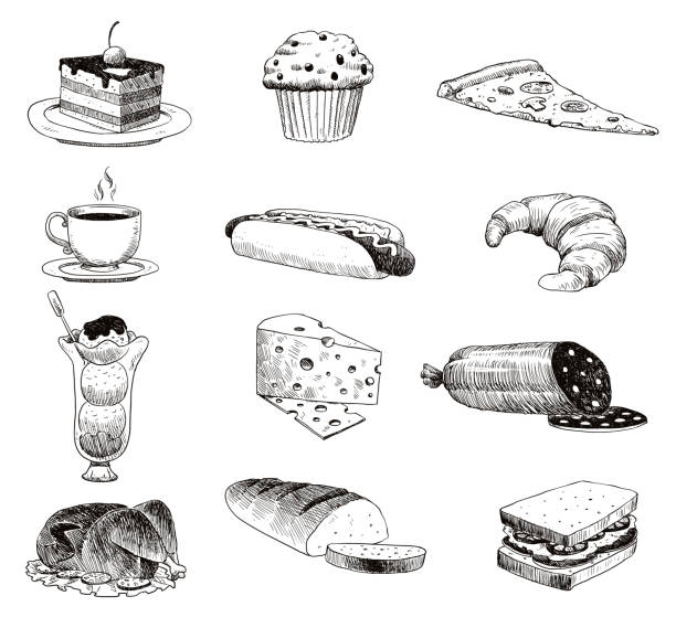 Vector hand drawn food sketch and kitchen doodle. Handdrawn food sketch and kitchen doodle graphic retro cook restaurant meal menu symbols. Dinner design product ingredient illustration Vector hand drawn food sketch and kitchen doodle. Graphic retro cook restaurant meal menu symbols. Dinner design product ingredient illustration. cake drawings stock illustrations