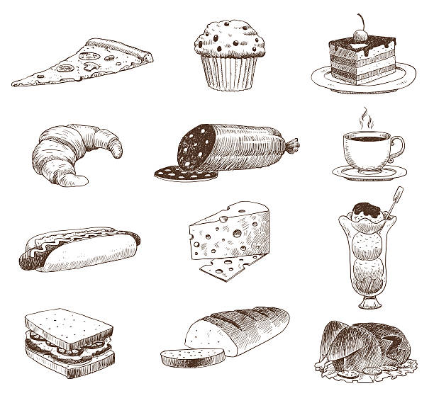 Vector hand drawn food sketch and kitchen doodle. Vector hand drawn food sketch and kitchen doodle. Graphic retro cook restaurant meal menu symbols. Dinner design product ingredient illustration. bread drawings stock illustrations