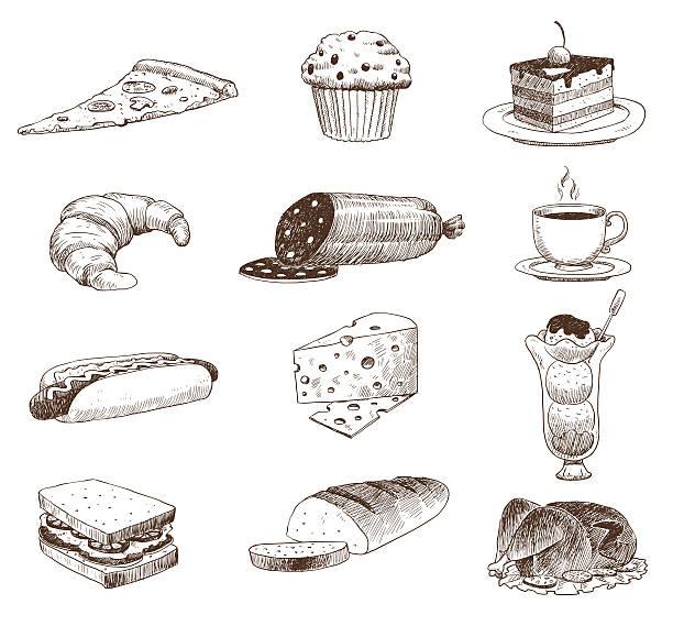 bildbanksillustrationer, clip art samt tecknat material och ikoner med vector hand drawn food sketch and kitchen doodle. - cheese sandwich