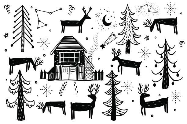 stockillustraties, clipart, cartoons en iconen met vector hand getrokken bos winter set. elementen voor het ontwerp van kerstmis pijnboom, spar, hert, huis forester. doodle stijl. - christmas cabin