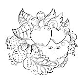 Vector hand drawn funny heart, cat, bird, sweet, cloud, balloon, butterfly illustration for adult coloring book. Sketch for adult anti stress coloring book page with doodle and zentangle elements.