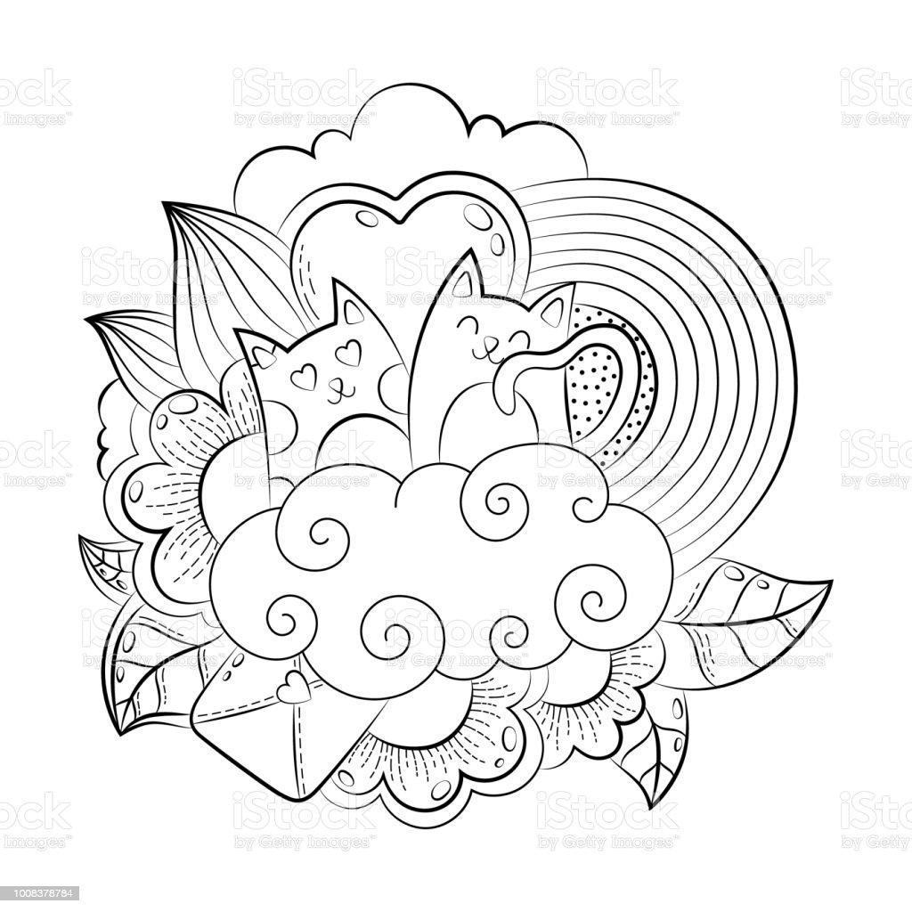 Coloriage Coeur Et Chat.Vector Coeur Droles Dessines A La Main Chat Oiseau Sweet Nuage