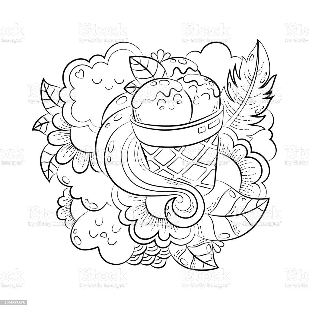 Vektör Elle çizilmiş Komik Kalp Kedi Kuş Tatlı Bulut Balon Kelebek