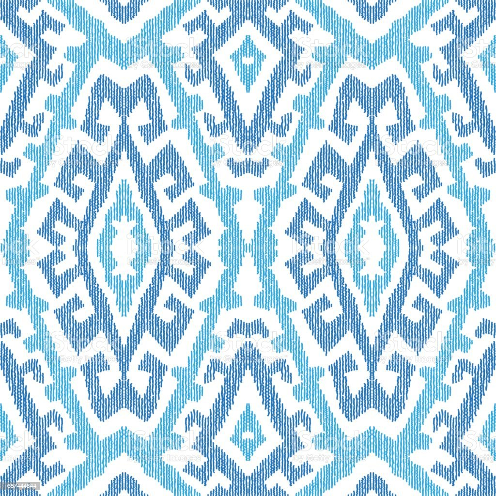 Vector hand drawn geometrical abstract seamless Ikat pattern from decorative ethnic ornament. Blue indigo  tribal elements on a white background. Batik, wallpaper, wrapping, page fill, textile print vector art illustration