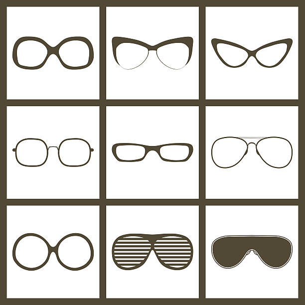 vector hand drawn glasses frame set. retro vintage icons - old man sunglasses stock illustrations, clip art, cartoons, & icons