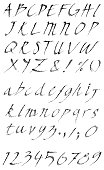 Vector hand drawn grunge alphabet set. Both uppercase and lowercase letters included.