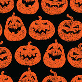 Vector hand drawn halloween scary pumpkins repeat pattern. Suitable for invitation card, halloween party poster or gift wrap. Surface pattern design.
