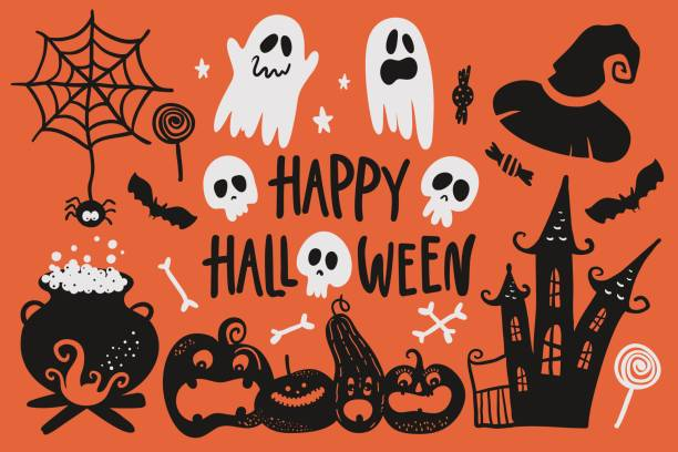 Vector hand drawn Halloween set. Vector hand drawn Halloween set. ghost icon stock illustrations