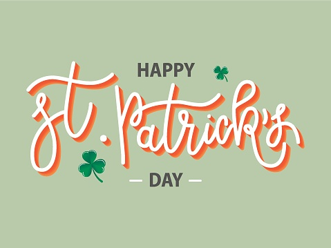 Vector hand drawn Happy St. Patrick's Day logotype. Monoline 3d lettering typography with shamrocks on green background. Stock illustration