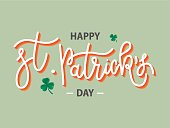 Vector hand drawn Happy St. Patrick's Day logotype. Monoline 3d lettering typography with shamrocks on green background. Festive design for tee, poster, flyer, party invitation, card, badge, icon