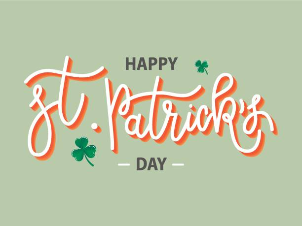 Vector hand drawn Happy St. Patrick's Day logotype. Monoline 3d lettering typography with shamrocks on green background. Stock illustration Vector hand drawn Happy St. Patrick's Day logotype. Monoline 3d lettering typography with shamrocks on green background. Festive design for tee, poster, flyer, party invitation, card, badge, icon st patricks day stock illustrations