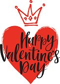 Vector hand drawn heart and crown.