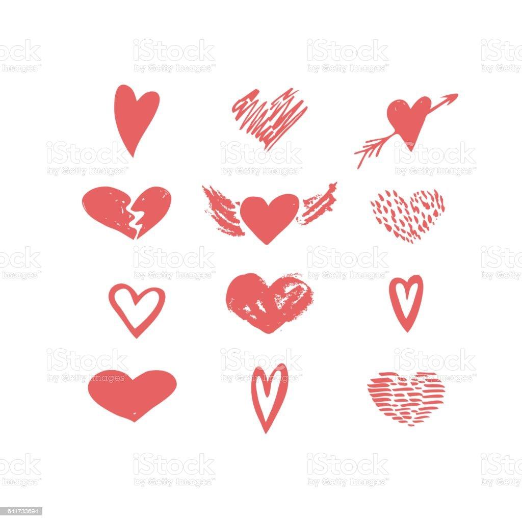 Vector Hand Drawn Hearts Icon Set Love Valentine Wedding