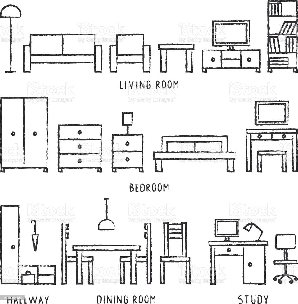 Vector Hand Drawn Home Furniture Outline Icons 2 stock vector art