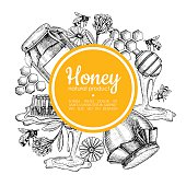 Vector hand drawn honey frame. Detailed yellow engraved honey illustrations. Graphic honey, honeycomb, bee, glass jar, flowers, pot. Great for label, banner, poster, card.