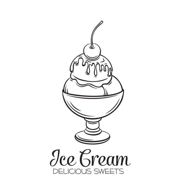 Vector hand drawn ice cream balls Vector hand drawn ice cream balls in a glass bowl with cherry and syrup dessert icon badge for design menu cafe, label and packaging. Retro style. bowl of ice cream stock illustrations