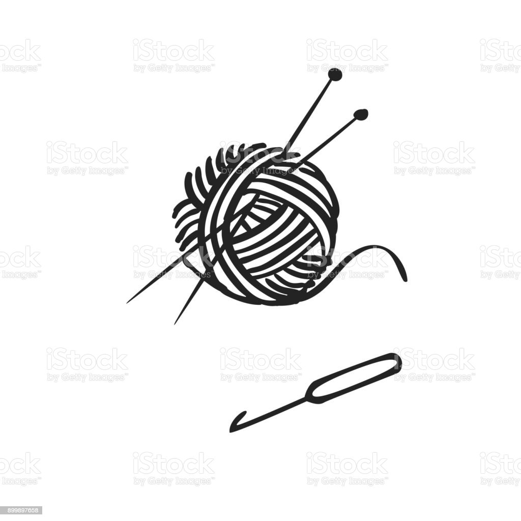 Vector hand drawn icon of knitting vector art illustration