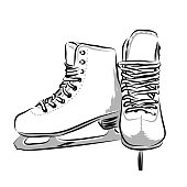 Vector hand drawn icon winter objects: skates