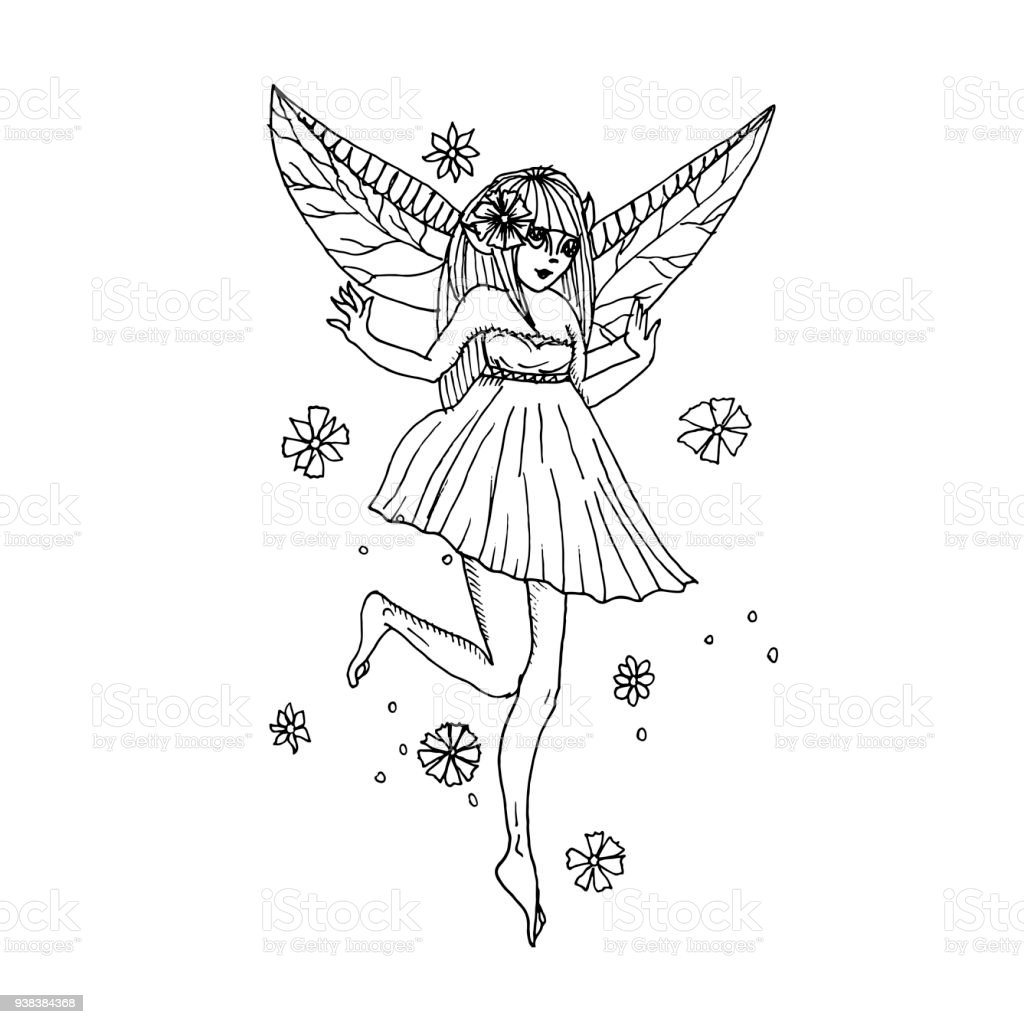 Vector hand drawn illustration beautyful elf girl pencil drawing anime style royalty