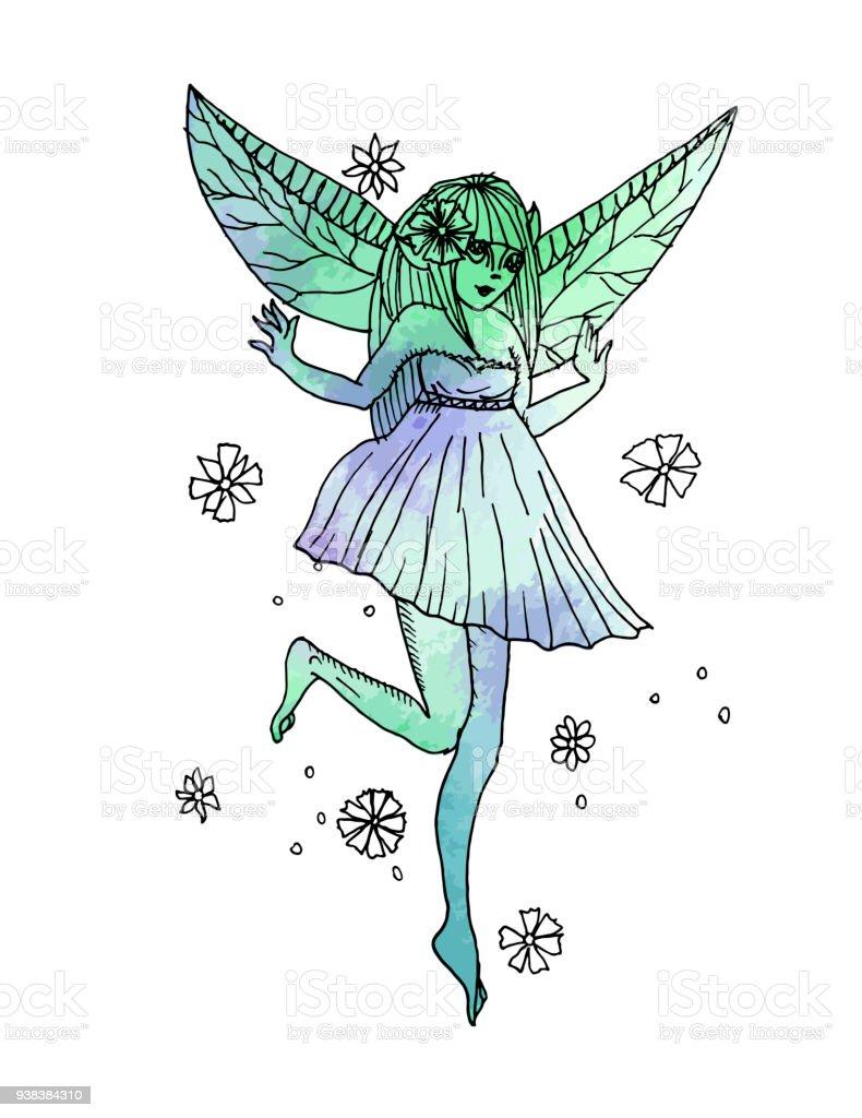 Ilustración De Vector Ilustración Dibujado A Mano Chica Elfo