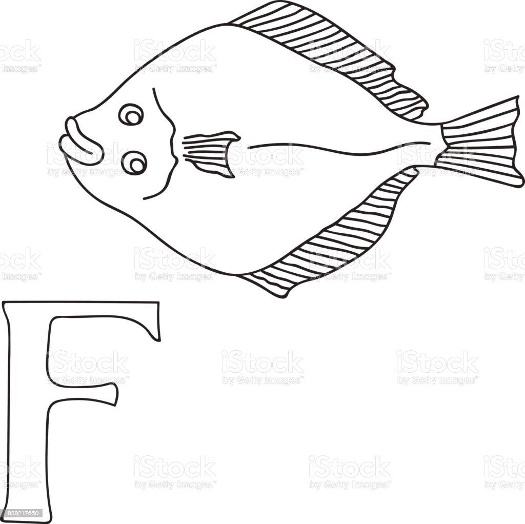 Vector Hand Drawn Illustration Capital Letter F On Alphabet Card
