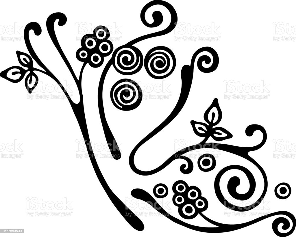 Vector hand drawn illustration, decorative ornamental stylized butterfly in shape of branch with flowers, leaves, dots. Black and white isolated graphic outline illustration Line drawing silhouette. royalty-free vector hand drawn illustration decorative ornamental stylized butterfly in shape of branch with flowers leaves dots black and white isolated graphic outline illustration line drawing silhouette stock vector art & more images of abstract