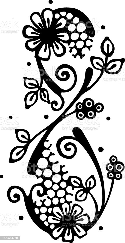 Vector hand drawn illustration, decorative stylized number eight in shape of tree with branch, flowers leaves Black and white isolated graphic outline illustration for 8 March. Line drawing silhouette royalty-free vector hand drawn illustration decorative stylized number eight in shape of tree with branch flowers leaves black and white isolated graphic outline illustration for 8 march line drawing silhouette stock vector art & more images of abstract